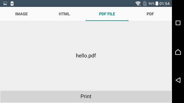 Printing Library for Android demo example